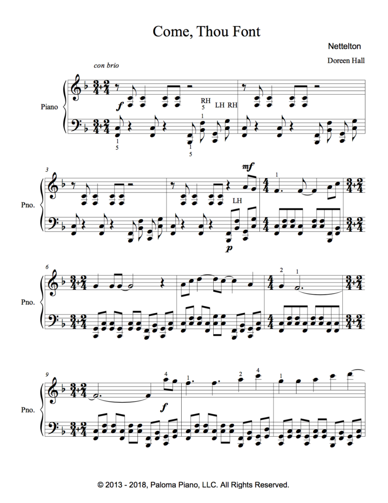 Paloma Piano - Come Thou Font - Page 1