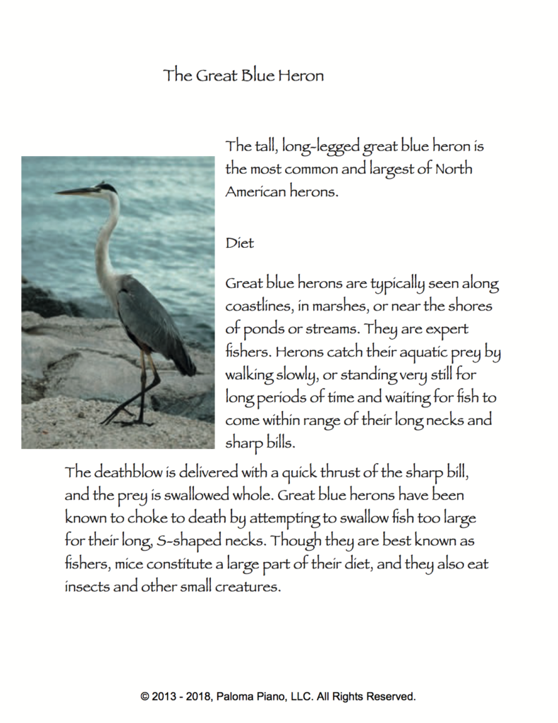 Paloma Piano - The Great Blue Heron - Page 1
