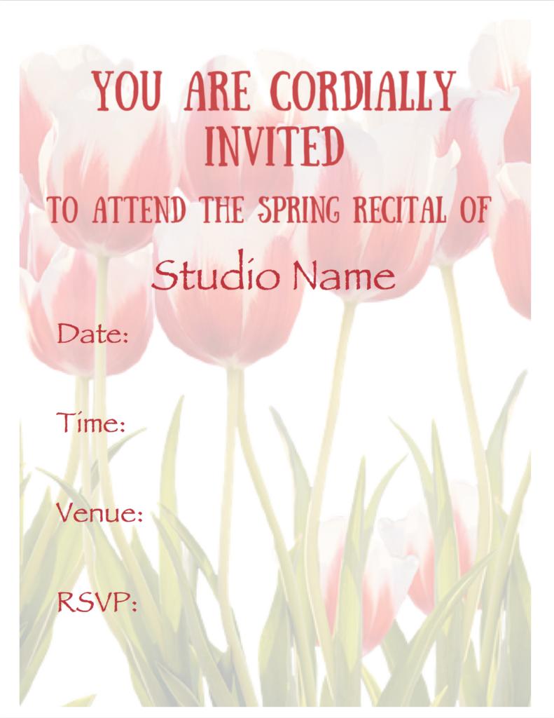 Paloma Piano - Spring Recital - Invitation