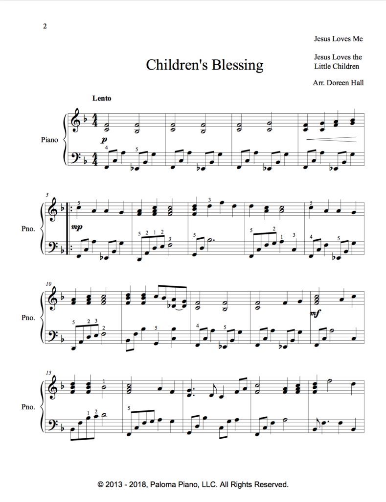 Paloma Piano - Children's Blessing - Page 1