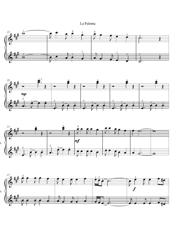 La Paloma Piano 1 pg. 2