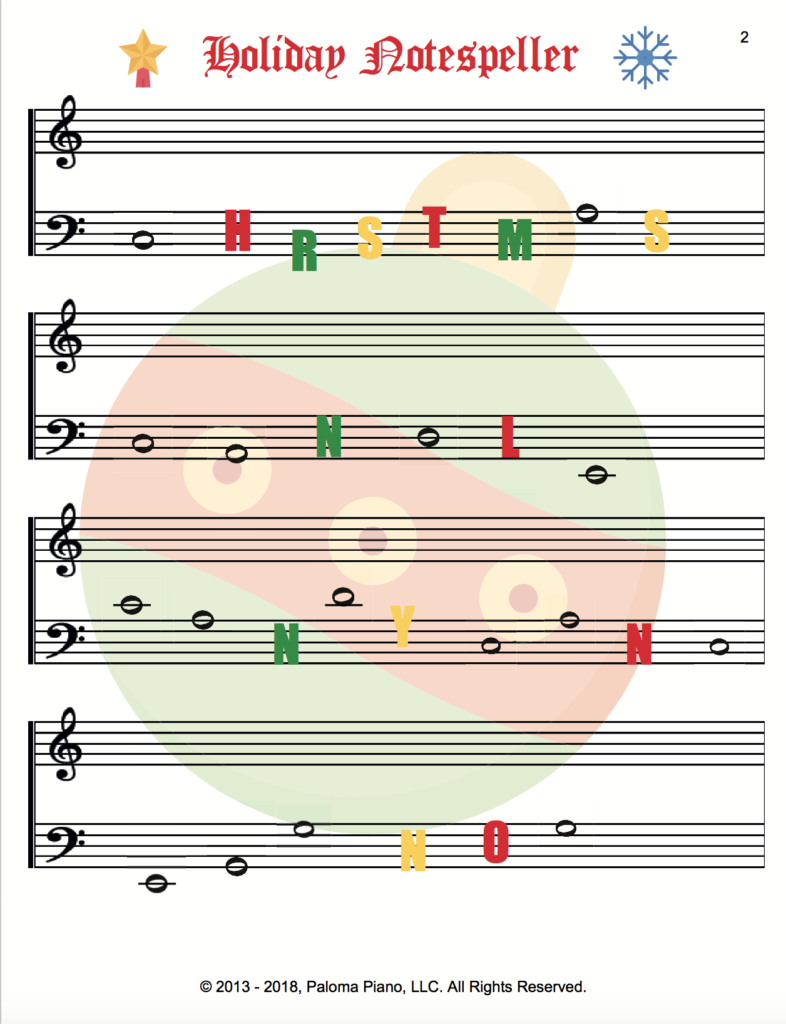 Paloma Piano - Holiday Notespeller - Page 2