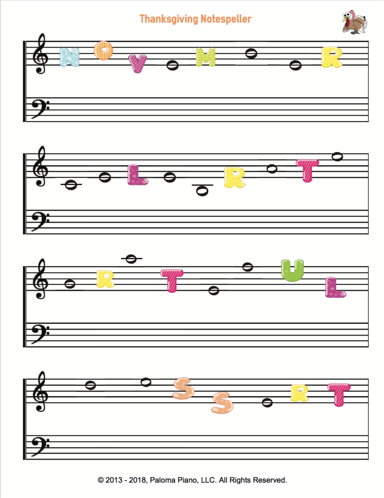 Paloma Piano - Thanksgiving Note Speller - Page 1