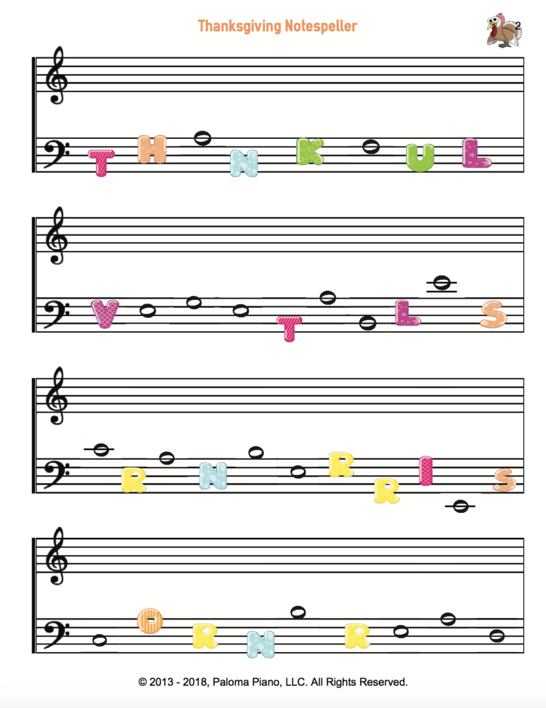 Paloma Piano - Thanksgiving Note Speller - Page 2