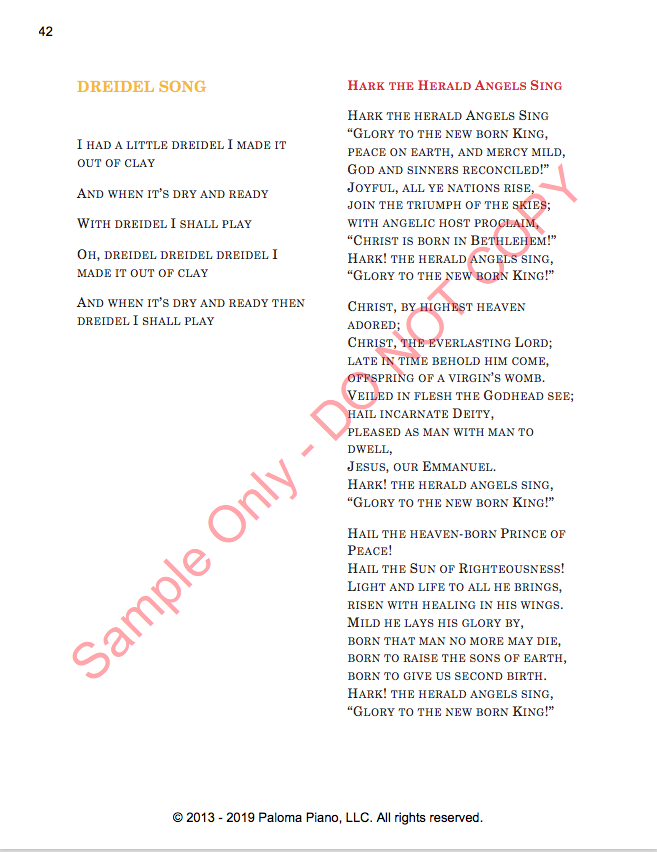 Paloma Piano - Holiday Sing-A-Long - Lyric Sheet