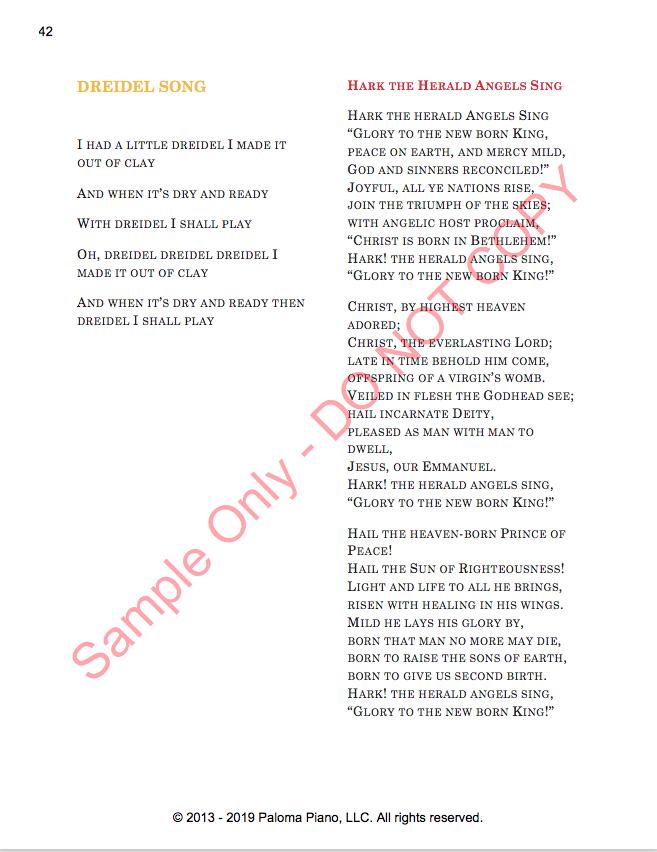 Paloma Piano - Holiday Sing-A-Long - Lyric Sheet