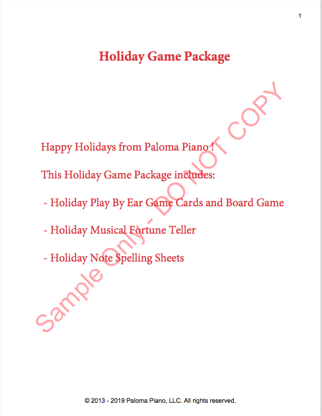 Paloma Piano - Holiday Game Package - Page 1