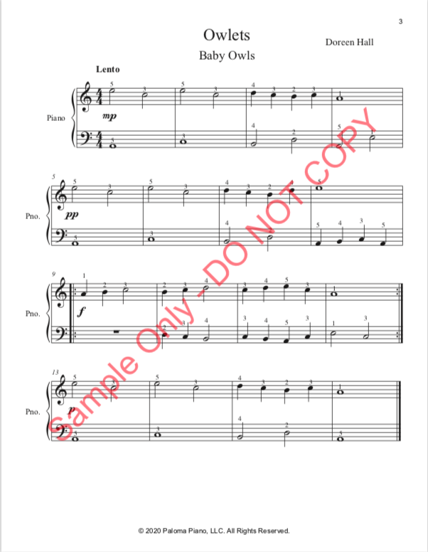 Paloma Piano - Spring Baby Animals - Owlets - Page 3