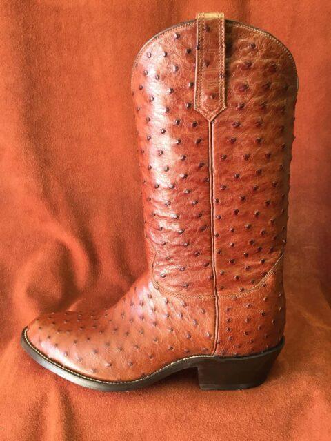 cognac full quill ostrich cowboy boots
