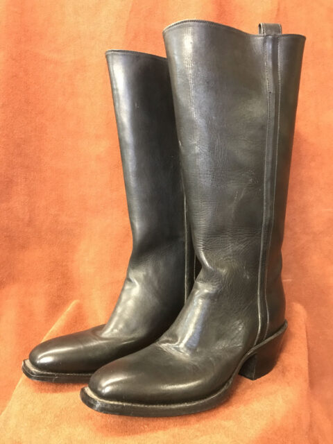 1880s Black Stovepipe Cathedral Stitching Calfskin Cowboy Boots