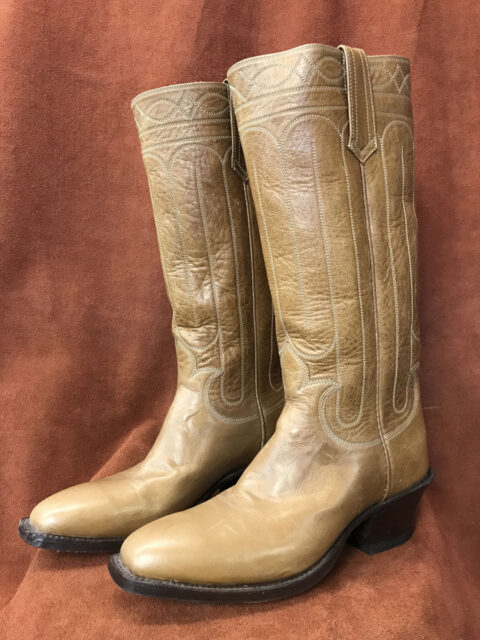 1880s Stovepipe Cathedral Stitching Calfskin Cowboy Boots