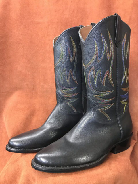 Black Buffalo With Rainbow Stitching Cowboy Boots
