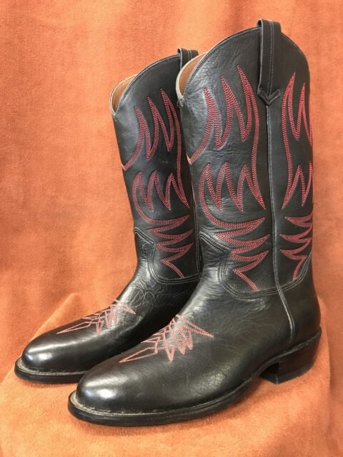 Black Calfskin With Red Stitching Cowboy Boots