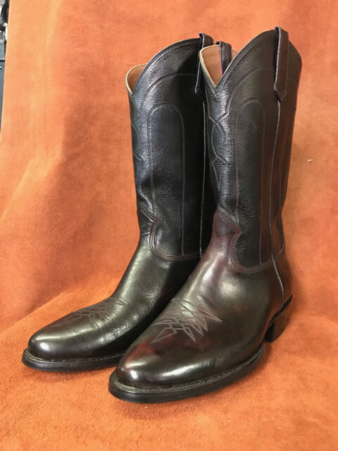 Black Cherry Leather Cowboy Boots