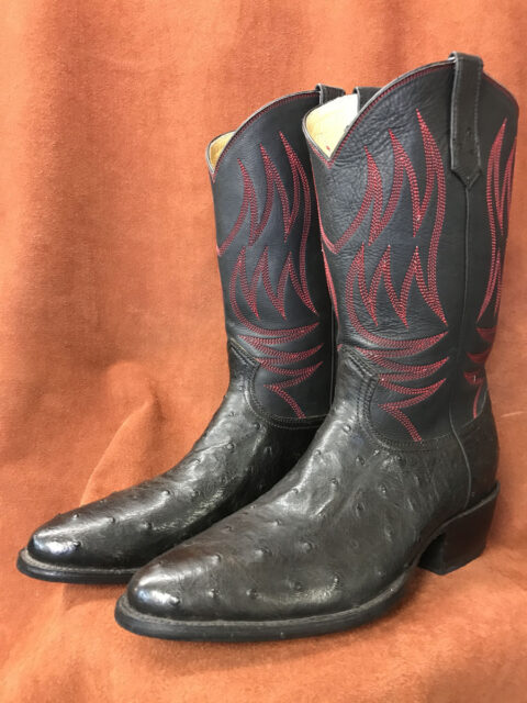 Black Full Quill Ostrich Cowboy Boots
