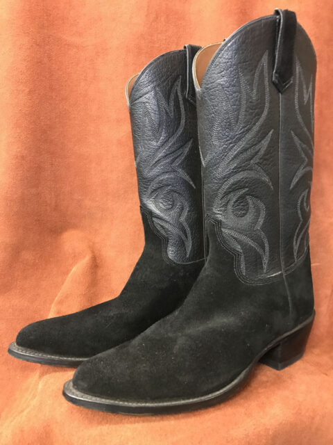 Black Sueded Cowhide Cowboy Boots