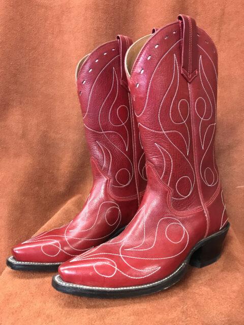 Cherry Red Single Line Design Calfskin Cowboy Boots