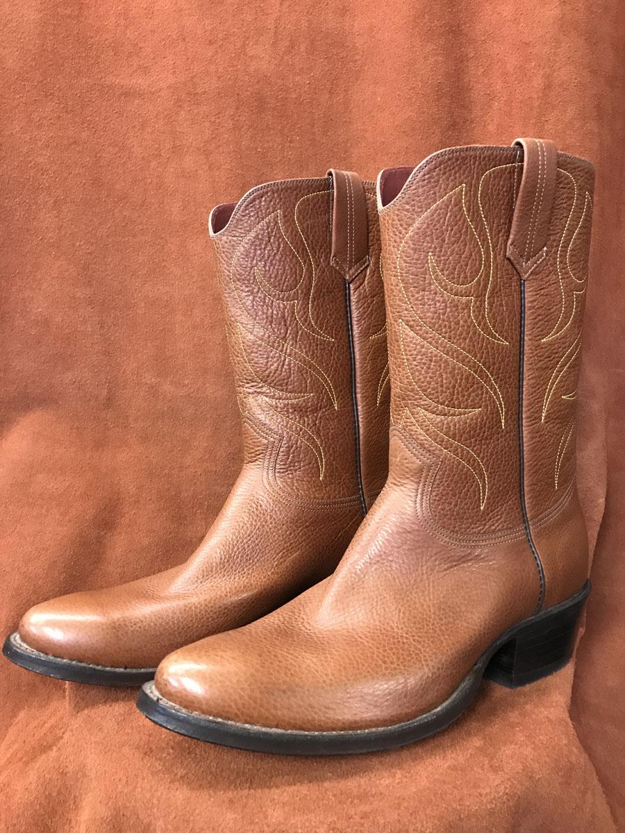 Rust Brown Soft Grain Cowhide Cowboy Boots