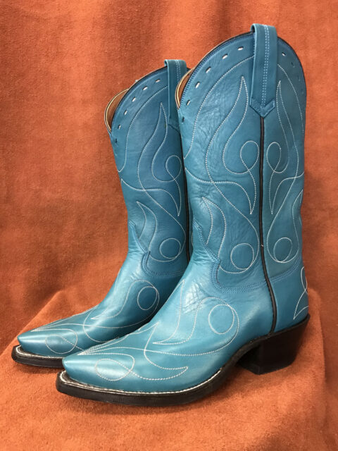 Turquoise Blue Single Line Design Calfskin Cowboy Boots
