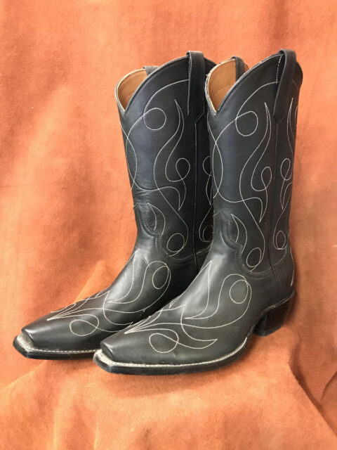 matte black calf skin cowboy boots