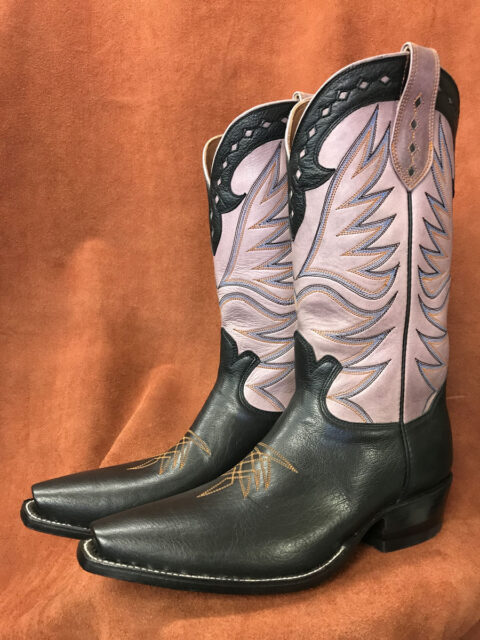 Black Buffalo Calf With Mauve Shaft Cowboy Boots