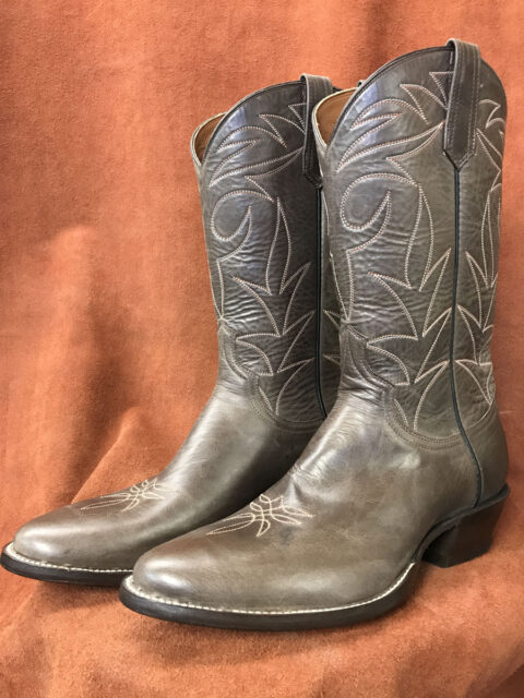 Distressed Brown Calfskin Cowboy Boots