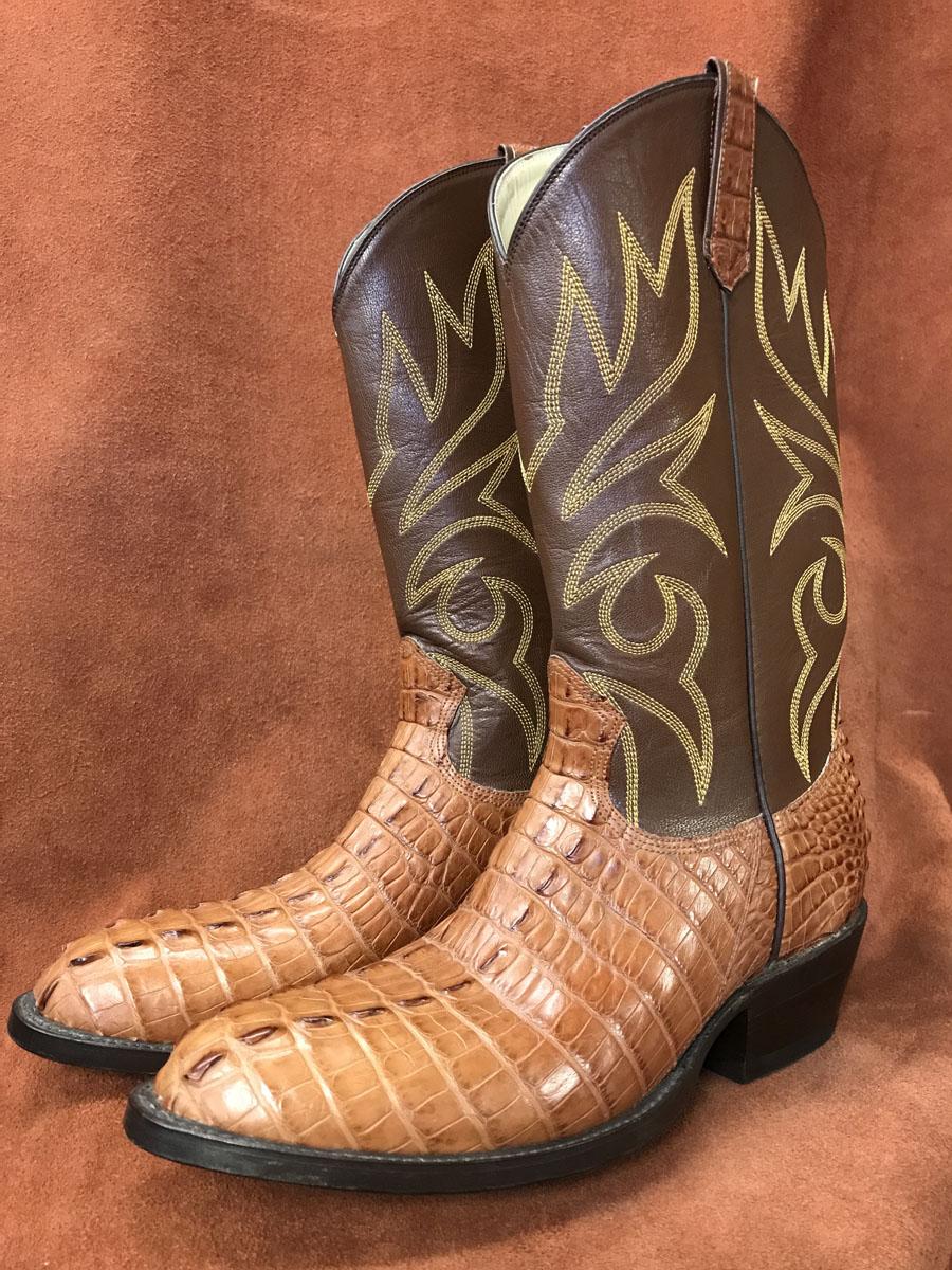 Cognac Alligator Tail Cowboy Boots