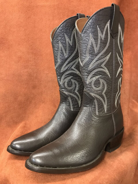 Dark Brown Buffalo Calf Cowboy Boots