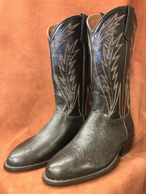 Dark Brown No Quill Ostrich Cowboy Boots