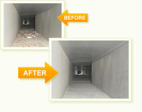 Houston, TX air duct cleaning before and after photo