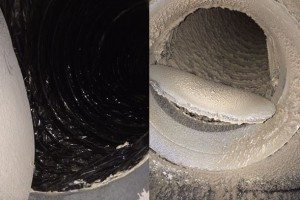 Before and after image showing dirty and clean air ducts in Sugar Land, TX