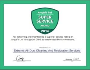 Extreme Air Duct Cleaning And Restoration Services Earns Esteemed 2016 Angie's List Super Service Award