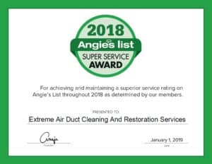 Extreme Air Duct Cleaning And Restoration Services Earns 2018 Angie's List Super Service Award