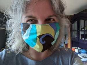 Picture of homemade face mask on person