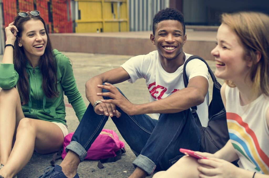 group of youth talking