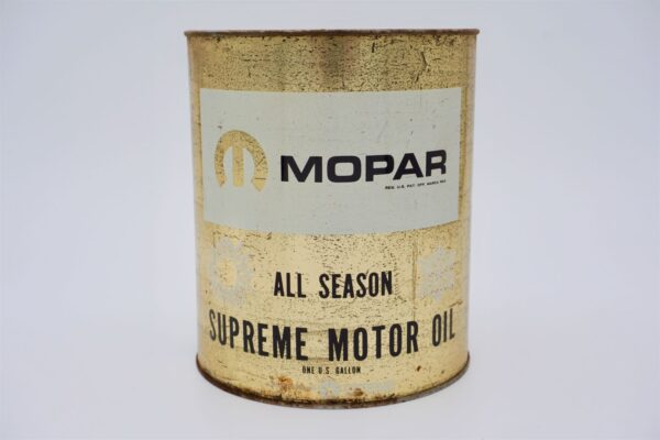 Vintage Mopar All Season Supreme Motor Oil can, 1 gallon.