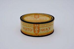 Antique Mopar Auto Wax, 8 oz orange can.