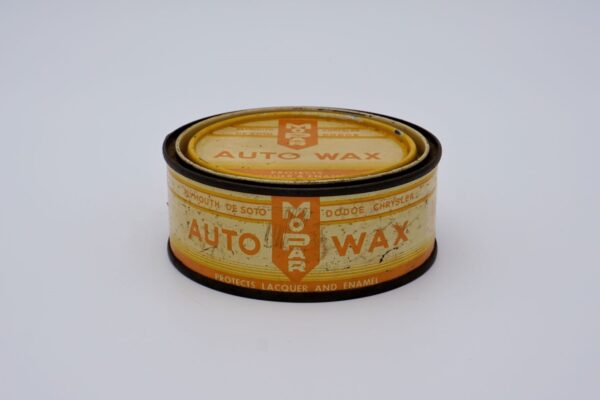 Antique Mopar Auto Wax, 8 oz orange can.