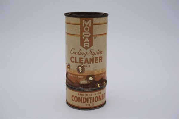 Antique Mopar Cooling System 16 oz Cleaner and 2 oz Conditioner cans.