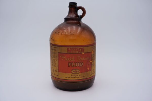Antique Mopar Fluid Drive Fluid, 1 gallon glass bottle.