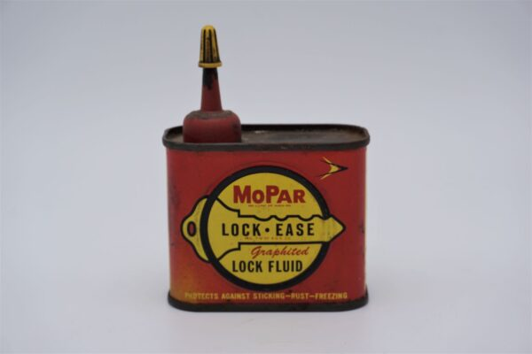Antique Mopar Lock-Ease Graphited Lock Fluid can, 4 oz.