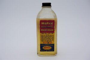 Antique Mopar Porcelainize Wash Cream, 8 oz glass bottle.