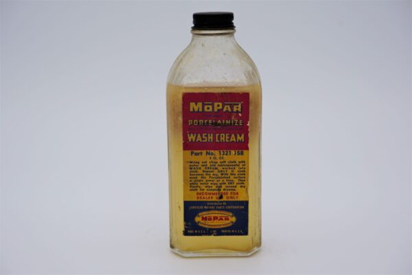 Antique Mopar Porcelainize Wash Cream, 8 oz glass bottle.
