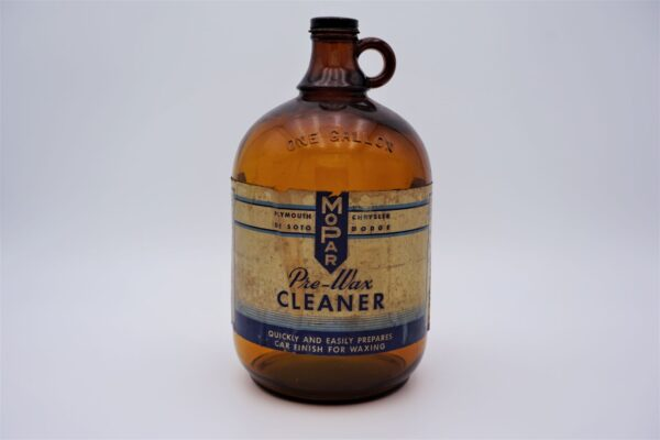 Antique Mopar Pre-Wax Cleaner, one gallon glass bottle.