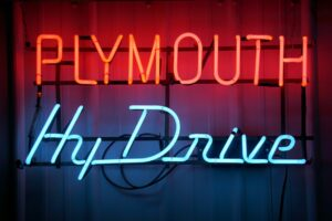 Plymouth HyDrive lighted neon sign.