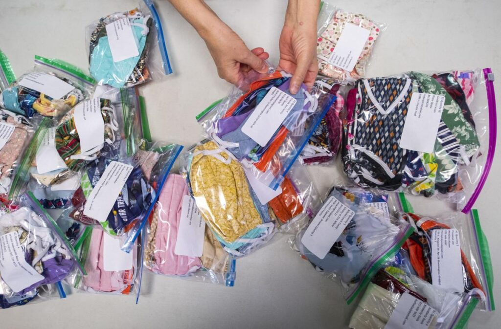 One of many front-page photos from Bloomington Mask Drive