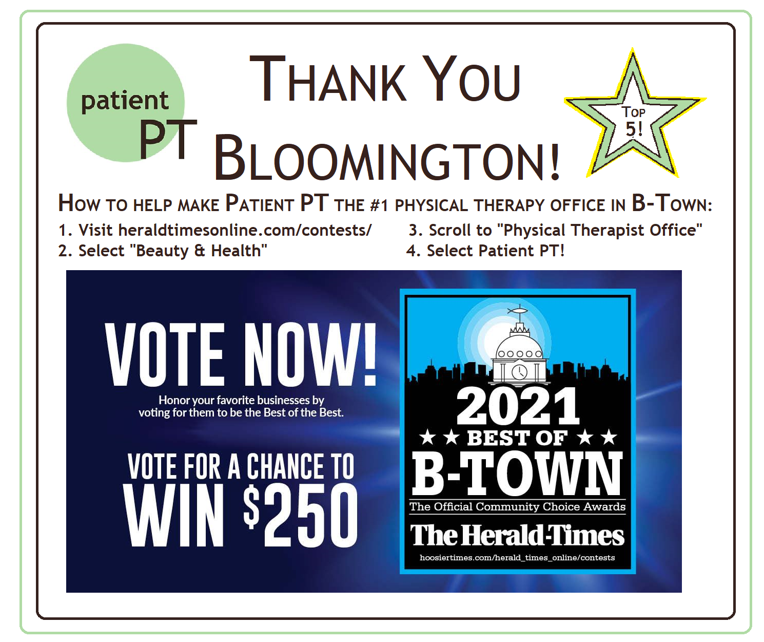 Graphic: Oh my gosh, thank you Bloomington for making my little clinic one of the Top 5 Physical Therapy Offices in Bloomington! To vote us up to number one, click here: https://embed-813989.secondstreetapp.com/.../295719305/