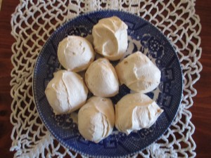 Finished plate of Fidelis' Meringues ready to enjoy.