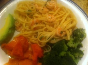 Enjoy a delicious dish of shrimp scampi, especially good with a side of vegetables.