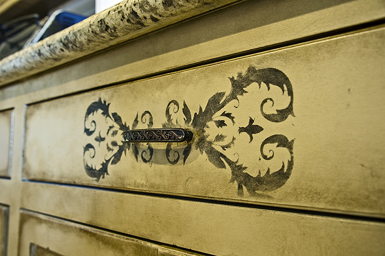 Ornate flourishes take these cabinets to the next level.